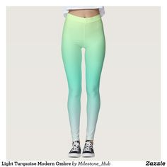 Light Turquoise Modern Ombre Leggings Ombre Leggings, Coloured Leggings, Green Leggings, Yoga Leggings, Yoga Pants, Floral Leggings, Custom Leggings, Gym Style, Fitness Fashion