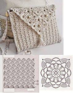 New ideas for crochet lace bag pattern granny squares Crochet Clutch Bags, Crochet Purse Patterns, Crochet Pouch, Crochet Handbags, Crochet Gifts, Crochet Doilies, Crochet Bags, Free Crochet Bag, Easy Crochet