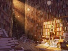 The Library of Babel by ~owen-c on deviantART Anime Landscape, Fantasy Landscape, Episode Interactive Backgrounds, Episode Backgrounds, Anime Backgrounds Wallpapers, Anime Scenery Wallpaper, Arquitectura Wallpaper, The Library Of Babel, Casa Anime