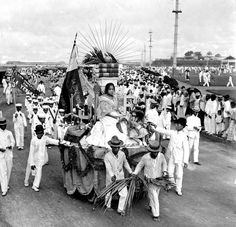"""""""Rizal Day Parade on the Luneta, Manila, Philippines, early 20th Century before 1909""""  In the background Intramuros can be seen on the right. On the left Manila Hotel was not there yet so this picture has to date before 1909 the year the hotel was built.    H. C. White company"""