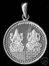 hindu ganesh & lakshmi om sterling silver charm pendant jewelry luck prosperity Real Sterling silver 925 pendant Charm jewelry by princeofdiamonds