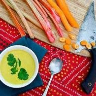 Thai Carrot Rhubarb Soup. Tart, spicy, and delicious!