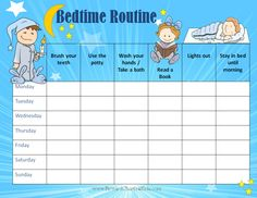 Free Printable kids bedtime chart - WOW.com - Image Results