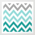 MINT & GRAY CHEVRON Art Print by N A T . Worldwide shipping available at Society6.com. Just one of millions of high quality products available.