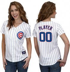 Ikes Baseball Chicago Cubs 2013 Womens Home White Custom Replica MLB Jersey