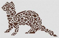 White Willow Stitching Tribal Ferret - Cross Stitch Pattern. Based on the artwork of Jamie Larson. Model stitched on 14 count White Aida with DMC floss. Stitch