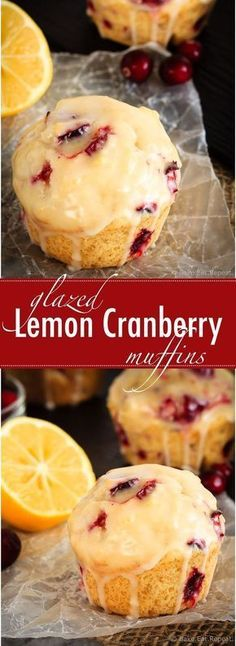 These glazed lemon cranberry muffins are light and fluffy with the tart, fresh c. These glazed lemon cranberry muffins are light and fluffy with the tart, fresh cranberries complimenting the sweet lemon glaze perfectly! Mini Desserts, Just Desserts, Delicious Desserts, Dessert Recipes, Yummy Food, Lemon Recipes Dinner, Plated Desserts, Summer Recipes, Lemon Cranberry Muffins
