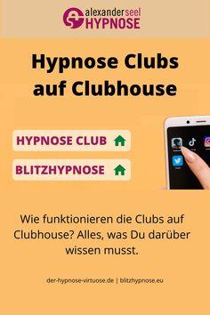 BLITZHYPNOSE und HYPNOSE CLUB auf Clubhouse. Durch die Clubs wird der Clubhouse Hype noch einmal verstärkt und natürlich gibt es auch Hypnose Clubs. Wie Du diese findest und wie Clubs funktionieren, hinter dem Link wartet eine Anleitung #Clubhouse #Clubhouseapp #Clubs #Hypnose #AlexanderSeel #Blitzhypnose #Hypnosetherapie #Showhypnose #Strassenhypnose #Hypnotiseur Coaching, Blitz, Club, Slim, Losing Weight, Knowledge, Tutorials, Training