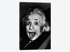 "Albert Einstein Sticking His Tongue Out by Arthur Sasse Canvas Print 26"" L x 40"" H x 0.75"" D"