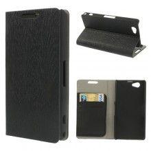 Capa Sony Xperia Z1 Compact Book Wood Wallet Preta  11,99 €