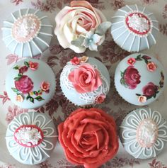 The rose cupcake!!!! (Vintage styled bridal cupcakes to match/tone with our English Rose wedding cake. #paintedcupcakes
