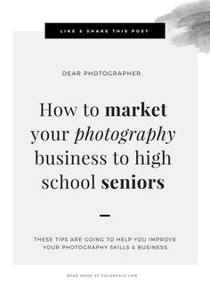 How to market your photography business to high school seniors