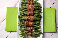 These are awesome as a side dish. You don't have to use fresh green beans. Use 2 14.5 oz cans of canned green beans instead.