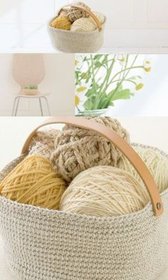 Crochet basket - free diagram pattern (Japanese). English version via this link: http://gosyo.co.jp/english/pattern/eHTML/container.html
