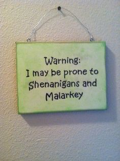 Funny Wall Sign, St Patrick's Day, Irish Gift , Irish Humorous wall decor, Malarkey and Shenanigans! by TuckersMercantile on Etsy https://www.etsy.com/listing/181169571/funny-wall-sign-st-patricks-day-irish