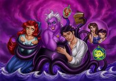 [Edit] Now, just a bit lighter version [/Edit] Something funny and my bigger tribute for Little Mermaid. I Ursula!] On the picture: Ariel, Ursula, Seb. Little Mermaid vs Ursula Disney Kunst, Disney Fan Art, Disney Love, Punk Disney, Disney Stuff, Walt Disney Characters, Disney Villains, Disney Princesses, Pixar Characters