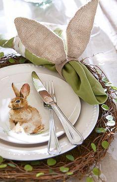 Bunny Plates And The Bunny Ear Napkin Rings ||