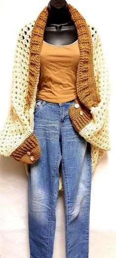 Handmade Crochet Beige and Tan Granny Square Cocoon Sweater #Handmade #Shrug