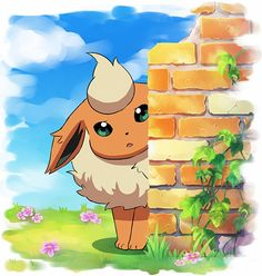 Pokémon - 136 Flareon art by Hitotubosi (Sankaku Channel)