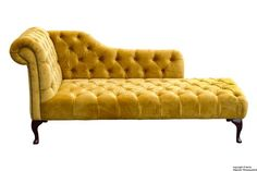Paloma Velvet Chaise Lounge - Gold The luxurious Paloma chaise lounge is a real statement piece. Hand crafted in the heart of England and upholstered in velvet, this chesterfi Deco Furniture, Sofa Furniture, Sofa Chair, Chez Lounge, Living Room Sofa, Living Room Decor, Velvet Chaise Lounge, Sofas, Recliners