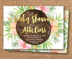 Tropical baby shower invitation, floral baby shower invitation, Hawaiian, beach, tropical invitation, peach and gold, green, wood (Abbi) by FrankieBearDesigns