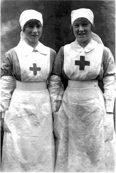 U.K. WWI British V.A.D. Nurses (Voluntary Aid Detachement) in Red Cross uniform