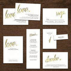 Hochzeitspapeterie Goldprägung von karten-selberdrucken.de bei www.weddingstyle.de