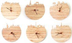 Bamboo skyline clocks by Iluxo