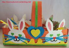 Panier de Pâques lapin réalisé avec une boite de mouchoir, explications sur mon blog