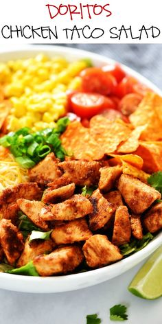 Doritos Chicken Taco Salad is filled with seasoned grilled chicken, corn, tomatoes, and of course, nacho cheese Doritos! It's perfect for lunch or dinner! Taco Pizza, Taco Salad Doritos, Taco Salad Recipes, Mexican Food Recipes, Dinner Recipes, Taco Dip, Doritos Chicken, Chicken Seasoning, Parmesan