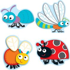 """Your students will go """"buggy"""" for learning with these adorable, assorted """"Buggy"""" for Bugs shaped classroom accents! These assorted shaped cut-out are fun additions to any classroom setting and can be"""