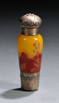 c1900 French Galle Cameo Art-Glass Perfume Bottle W/Silver Embossed Lid-Collar & Base via 'liveauctioneers.com'♥❦♥