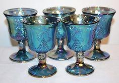 """Indiana Blue Carnival Depression Glass Harvest Grape ~ 5.25"""" Goblet 5 pc Set"""