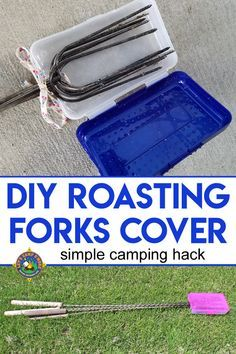 DIY Roasting Forks Cover Tutorial - Tired of your marshmallow forks making a mess and poking things when you go camping? Create this DIY Roasting Forks Cover with a plastic pencil box. #campinghack #camping #smores #LetsCampSmore #DIY #repurposed