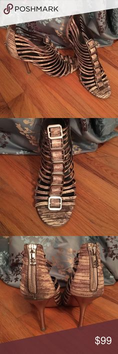 Tory Burch 9M Strappy Snake Stilettos Gently used, excellent condition! Snake print, metallic heels with gorgeous metal hardware. Size 9M, original box not included. Original price $225+. Tory Burch Shoes Heels