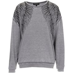 TOPSHOP Tall Wings Burn Out Sweat (83 BRL) ❤ liked on Polyvore featuring tops, hoodies, sweatshirts, sweaters, topshop, grey, jumpers, tall sweatshirts, burn out tops and polyester sweatshirt