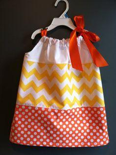 Fall candy corn Halloween Chevron Boutique Girl Pillowcase Dress, sizes 1-6. $30.00, via Etsy. ADORABLE