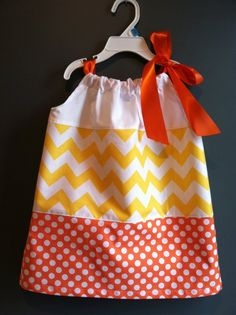 Fall candy corn Halloween Chevron Boutique Girl Pillowcase Dress, sizes 1-6. $30.00, via Etsy. ADORABLE
