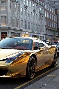 Free Sports Car Golden Ferrari computer desktop hd wallpapers backgrounds