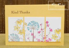 Kind Thanks – so saffron card stock – with melon mambo, tempting turquoise & daffodil delight inks – sentiment from the thank you kindly stamp set …