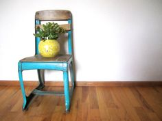 Vintage Turquoise Blue Industrial Small Metal by VintageParamour, $52.00