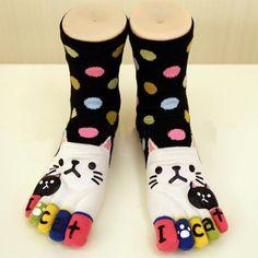 Colorful Cat Toe Socks