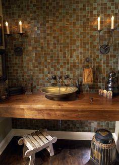 Waschtisch Holz Metall Aufsatzwaschbecken Rustikales Design
