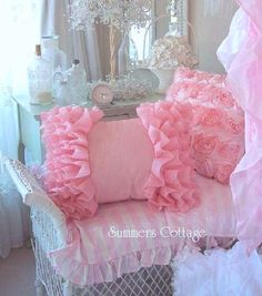 Love the pink pillow! Beautiful and romantic bedroom decor.