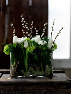 earthy flower arrangement~tulips and pussy willow stems