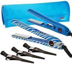 CHI Smart Blue Zebra Volumizing Styling Iron and Travel Iron w/ Accessories