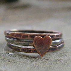 Silver and Copper Heart Stacking Ring Love Heart  by MixedMetals, $36.00