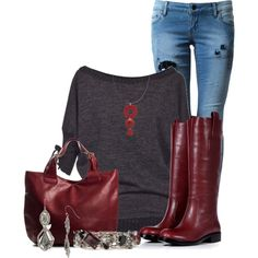 """""""Wine and Grey"""" by lisamoran on Polyvore"""
