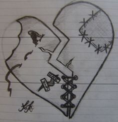 Shattered Heart Stiching by InFamous-Spartan on DeviantArt shattered heart stitching Broken Heart Drawings, Broken Heart Art, Broken Heart Tattoo, Shattered Heart, Sad Drawings, Dark Art Drawings, Art Drawings Sketches Simple, Pencil Art Drawings, Beautiful Drawings