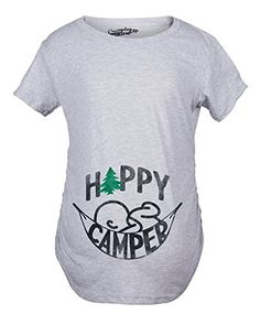 Maternity Happy Camper Funny Camping Baby Bump Pregnancy Announcement T shirt Grey M -- Want additional info? Click on the image. Note: It's an affiliate link to Amazon.